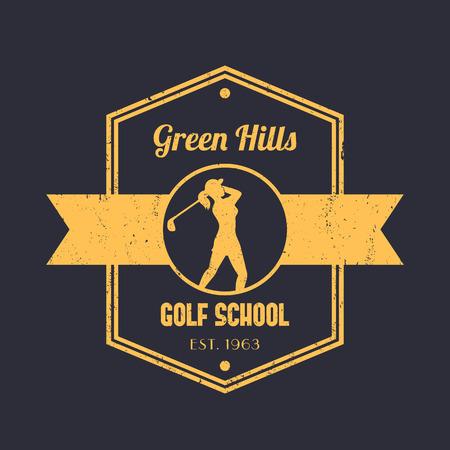 golfer swinging: Golf school vintage, badge, tetragonal emblem, with girl golfer, female golf player swinging golf club, illustration Illustration