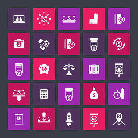 futures: 25 finance icons, investing, venture capital, shares, stocks, money, funds, investment, income, finance square icons set, illustration