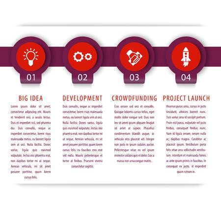 3 4: Startup infographics elements, 1, 2, 3, 4 steps, timeline, illustration