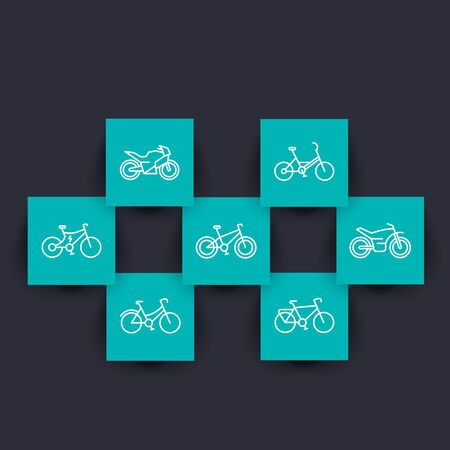 Bikes linear icons on square shapes, bicycle sign, cycling, motorcycle, motorbike, fat bike, electric bike, illustration Illustration