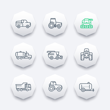 agrimotor: Agricultural machinery line icons, combine harvester, tractor, grain harvesting combine, truck, agricultural vehicles, octagon modern icons set, illustration Illustration