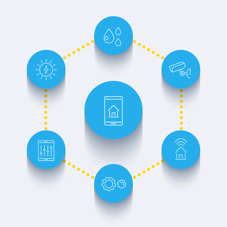 humid: Smart House line round blue icons set, linear signs, illustration
