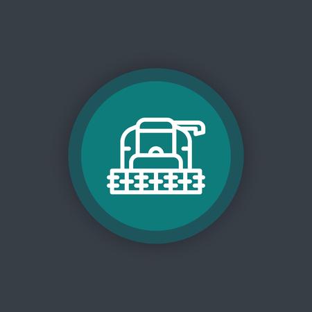 harvester: Harvester line icon, grain harvester combine front view, green flat icon,illustration