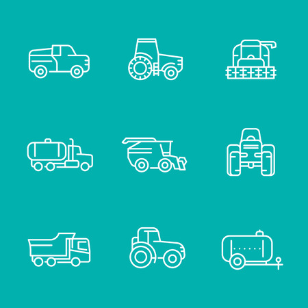 harvesting: Agricultural machinery line icons, tractor, harvester, agricultural vehicles, harvesting combine, truck, pickup, isolated icons,illustration