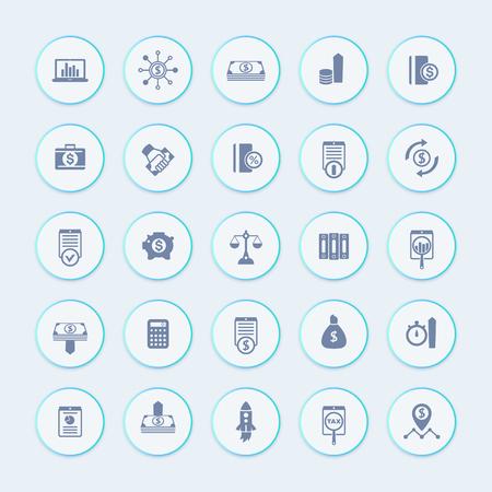 25 finance, icônes d'investissement, le capital-risque, les actions, les stocks, l'investisseur, les fonds, les investissements, les icônes de revenu emballent, illustration