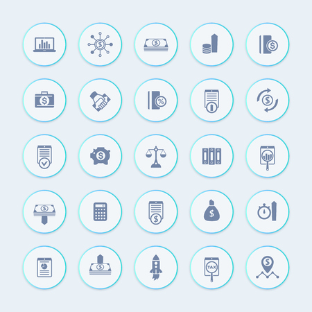 investor: 25 finance, investing icons, venture capital, shares, stocks, investor, funds, investment, income icons pack, illustration