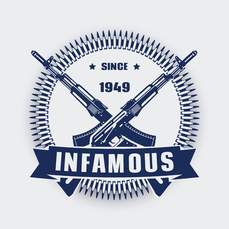 vintage military rifle: infamous since 1949, vintage emblem with assault rifles, t-shirt print with crossed guns, illustration Illustration