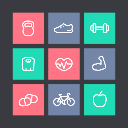 robust: Fitness thick line icons, healthy lifestyle, training, workout, biceps linear icons on squares, illustration