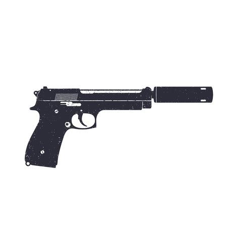 the silencer: modern pistol with silencer, handgun isolated on white, illustration Illustration