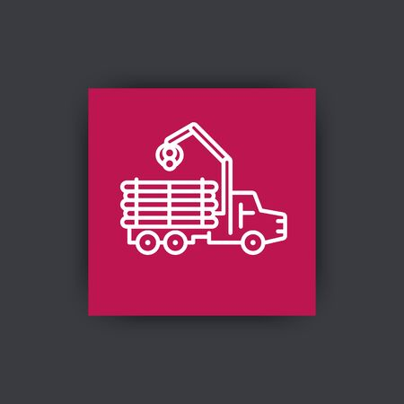 logging: Forwarder line icon, lorry, forestry vehicle, logger sign, logging truck square icon