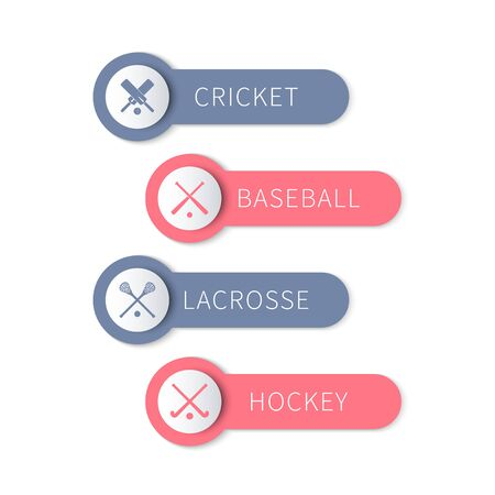 field hockey: Cricket, baseball, lacrosse, field hockey, team sports labels and banners isolated on white, illustration