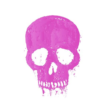 over white: t-shirt print with painted skull, isolated over white, illustration