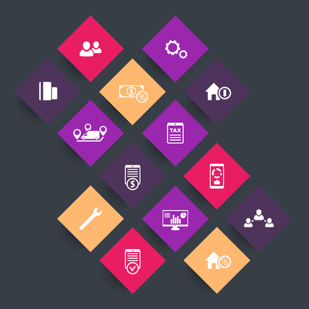 rhombic: 14 finance, costs, tax icons on color rhombic shapes, illustration