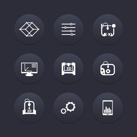 additive manufacturing: 3d printer, printing, modeling, additive manufacturing icons, 3d printing pictograms,  illustration Illustration