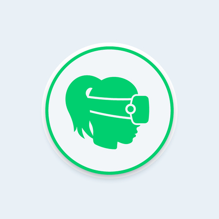 VR helmet icon, vr glassest sign, virtual reality pictogram, girl in virtual reality headset,  illustration Illustration