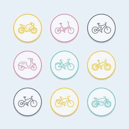 Bikes line icons, bicycle icon, bike, cycling, motorcycle, motorbike, fat bike, scooter, retro bike, electric bike, round