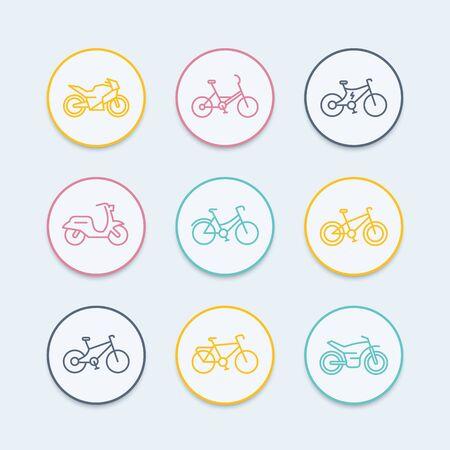 Bikes line icons, bicycle icon, bike, cycling, motorcycle, motorbike, fat bike, scooter, retro bike, electric bike, round