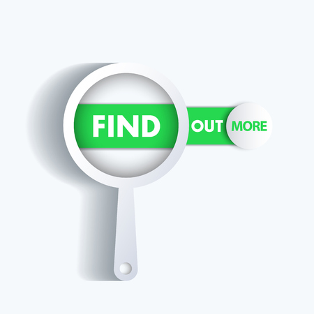 find out: Find out more, loupe with banner, illustration Illustration