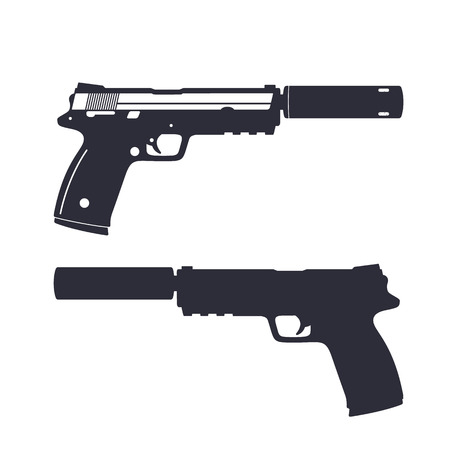 modern pistol with silencer, handgun silhouette, gun isolated on white, illustration Ilustração