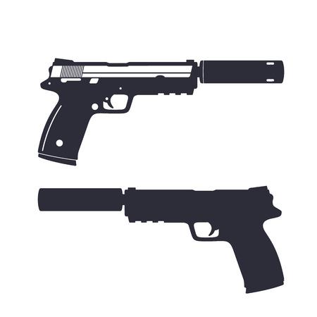 modern pistol with silencer, handgun silhouette, gun isolated on white, illustration Vettoriali