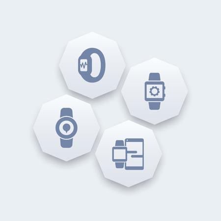 data synchronization: Smart watch icons, smartwatch, fitness tracker, smart watch data synchronization, wearable technology octagon icons, illustration Illustration