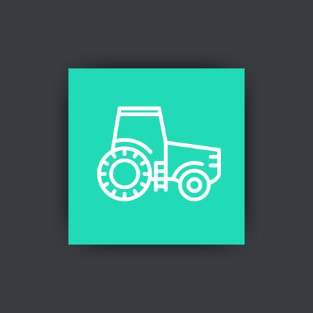 agrimotor: Tractor line icon, agrimotor, engineering vehicle, farm tractor square icon, illustration Illustration