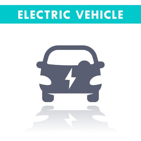ecologic: electric car icon, EV, electric vehicle sign isolated on white, ecologic clean transport, illustration