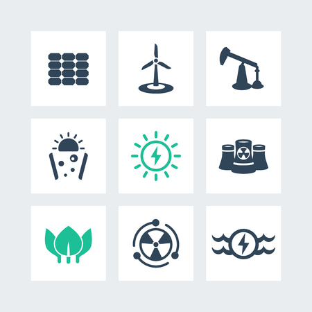 energy production: Power, energy production icons on squares, energetics, different sources of energy, solar, wind, nuclear energetics, illustration Illustration