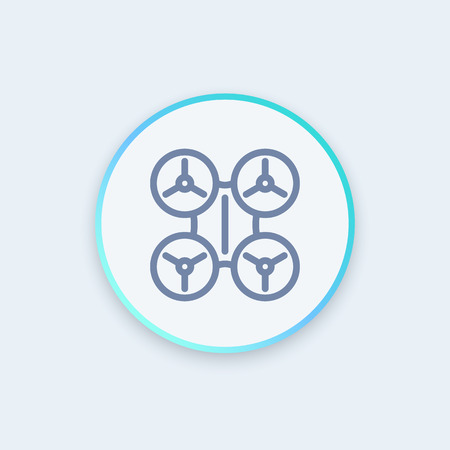 unmanned: Drone line icon, uav, unmanned aerial vehicle, drone round pictogram, illustration Illustration