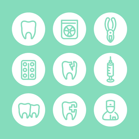 toothcare: Tooth icons, dentist, dental care, toothcare, stomatology, line pictograms set, illustration