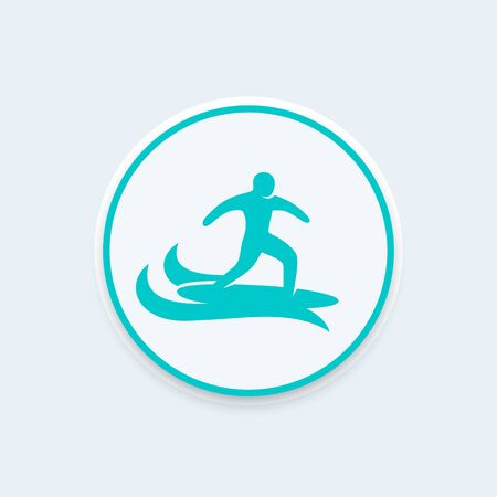 surfer: Surfer icon, surfing sign, man on surfing board icon on round shape, illustration