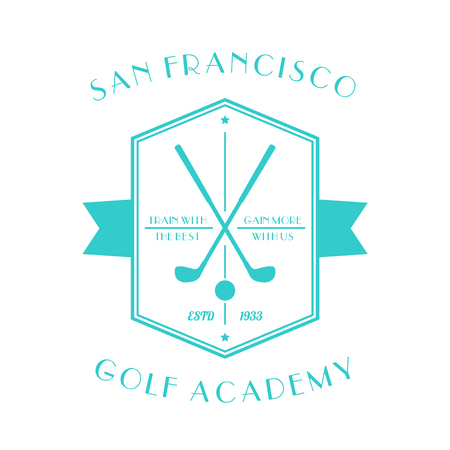 academy: Golf Academy vintage , emblem with golf clubs isolated on white,  illustration