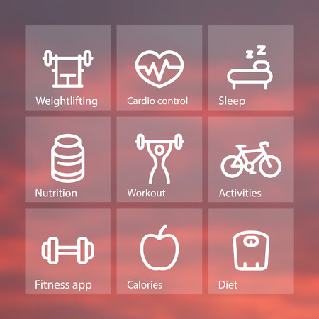 active lifestyle: Fitness thick line icons, fit and active lifestyle, strength training, workout, fitness icons on transparent squares, illustration Illustration