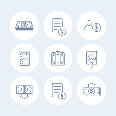 Bookkeeping line icons, finance, tax, accounting round isolated icons, illustration Vektorové ilustrace
