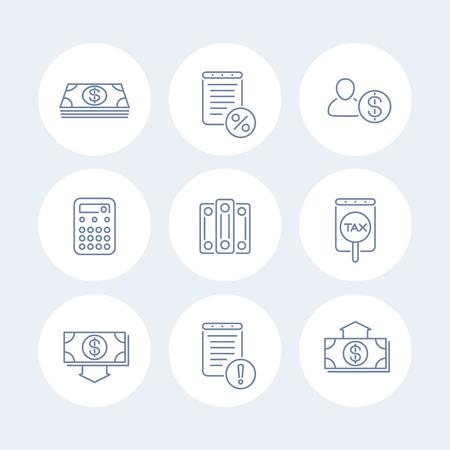Buchhaltung Linie Symbole, Finanzen, Steuern, Buchhaltung Symbole Runde isoliert, illustration Vektorgrafik