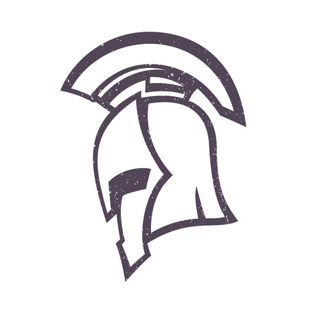 spartan helmet, side view, isolated on white, illustration