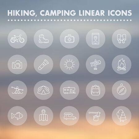 hiking boot: Hiking, camping, outdoor line icons, hiking boot, flashlight, tent, map, kayak, pictograms, transparent linear icons set, illustration