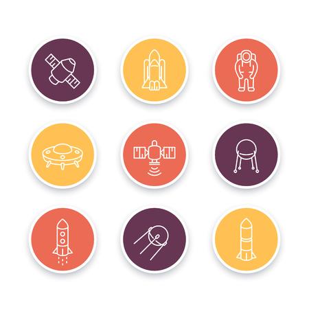 spacecraft: space line icons, satellite, astronaut, space shuttle, spaceship, spacecraft, round icons, space pictograms, illustration