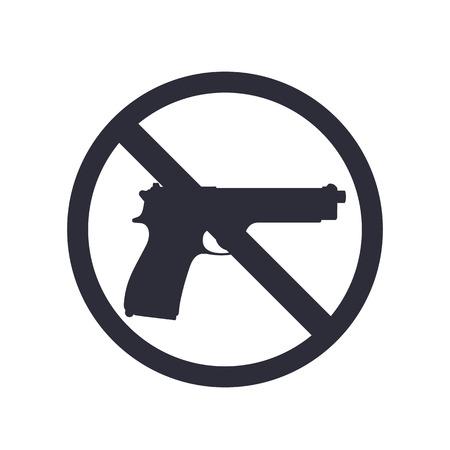 gun silhouette: no guns sign with pistol, gun silhouette, no weapons allowed, illustration