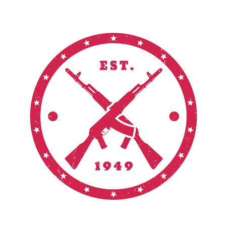assault: crossed assault rifles, guns, round red emblem on white, illustration Illustration