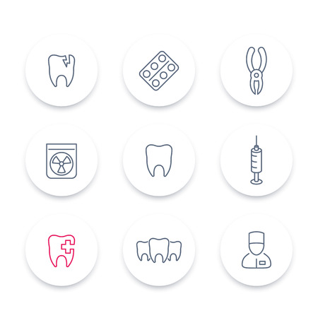toothcare: Tooth, dental care line icons, dental pliers, toothcare, stomatology, tooth linear pictograms set, illustration