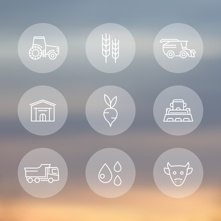 agricultural equipment: Agriculture, farming line icons, tractor, agrimotor, harvest, cattle, agricultural machinery transparent icons set, illustration