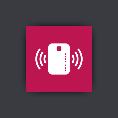 radio wave: Contactless credit card icon, card with radio wave outside, credit card payment sign, flat square icon, illustration