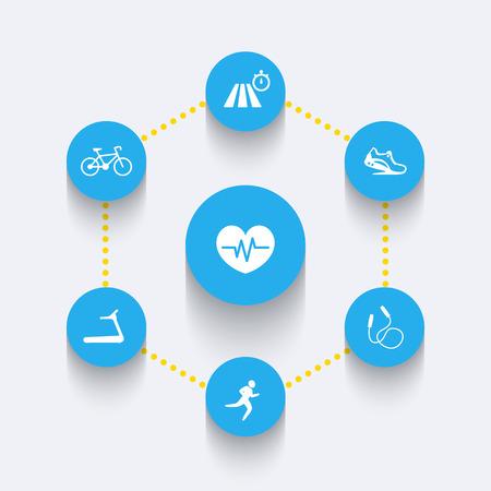 cardio: Aspects of cardio training, round blue icons, infographics elements, illustration