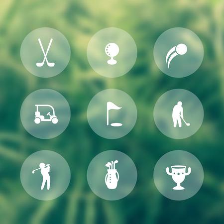 golf bag: Golf icons, golf clubs, golfer, golf bag, golf signs, transparent icons, illustration