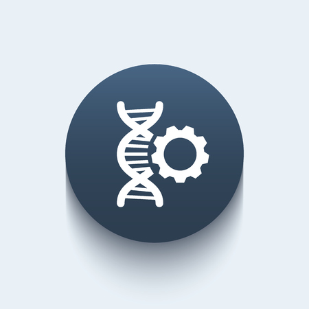 replication: dna modification icon, sign with dna chain and gear, round icon, illustration