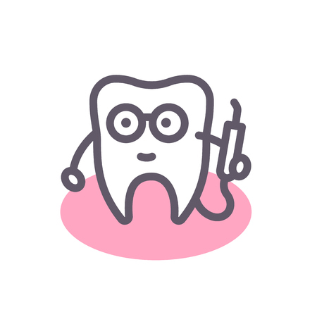 toothcare: Tooth dentist line icon, stomatology element, illustration