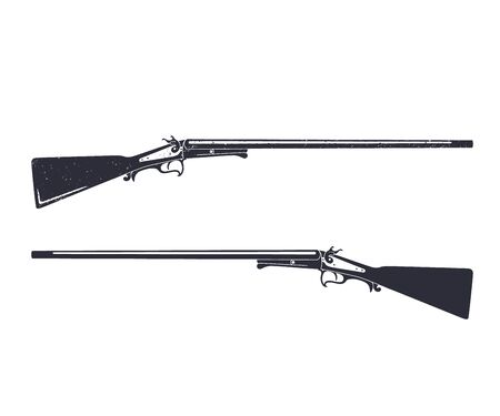 hunting rifle: Old hunting rifle, gun, isolated on white, illustration