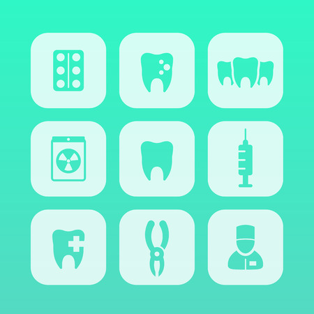 toothcare: Teeth icons, stomatology, dental health care, tooth cavity, dental pliers, toothcare, rounded square icons, illustration Illustration