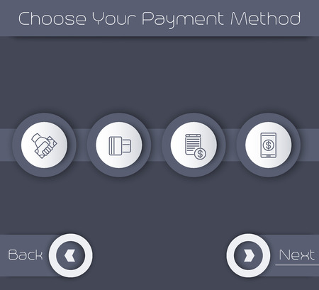 choose: Choose Your Payment Method, web page template in gray, illustration